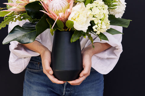 Satin Black Deco Vase by Amy Hamley
