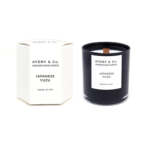 Japanese Yuzu Wooden Wick Candle by Aydry & Co.