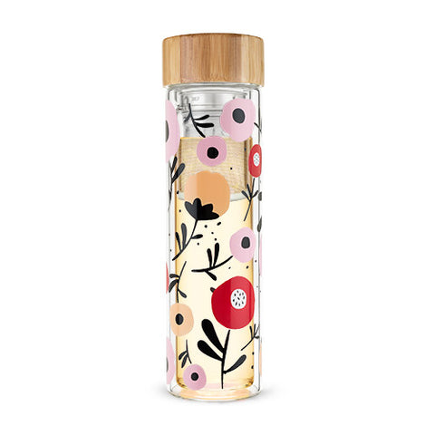 Blair Posy Patterned Glass Travel Infuser Mug by Pinky Up