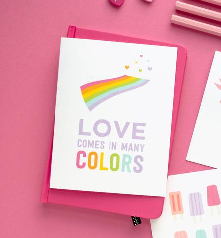 Love Comes in Many Colors Greeting Card by Graphic Anthology - Planning Pretty