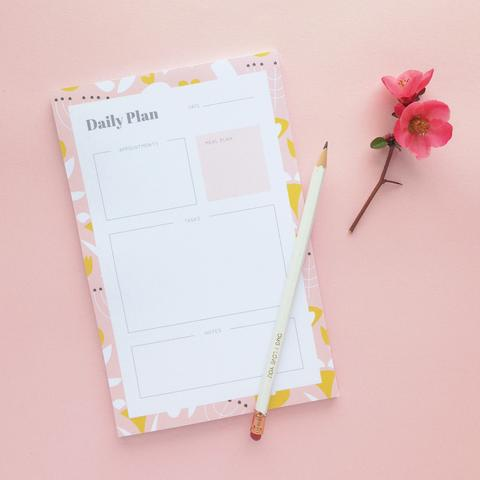 Modern Floral Daily Plan Notepad by Graphic Anthology - Planning Pretty