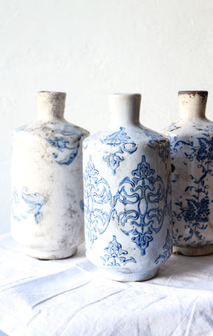 Blue & White Terra Cotta Vase - Planning Pretty