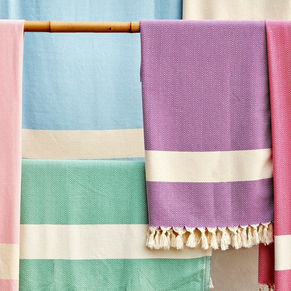 Hamam Towels in Herringbone Weave by Rice Designs - Planning Pretty
