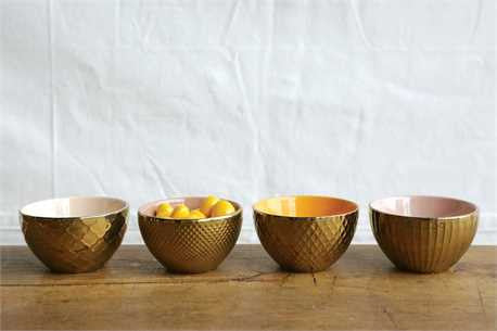 Gold Stoneware Bowls - Planning Pretty