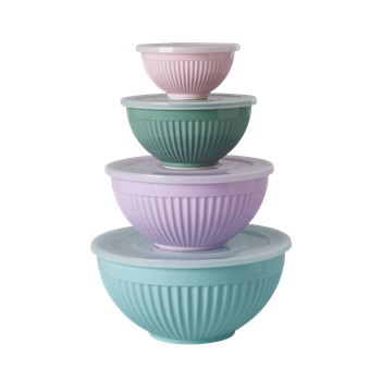 Melamine Bowls Set of 4 with Plastic Lid Extraordinary Mix by RICE - Planning Pretty