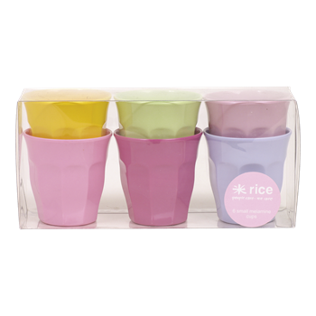 Small Melamine Curved Cups - 6 Pack Assorted Colors by RICE