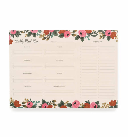Rosa Meal Planner Notepad - Planning Pretty