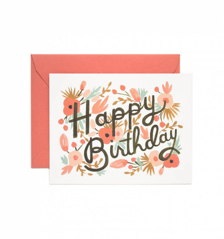 Floral Burst Happy Birthday Card - Planning Pretty