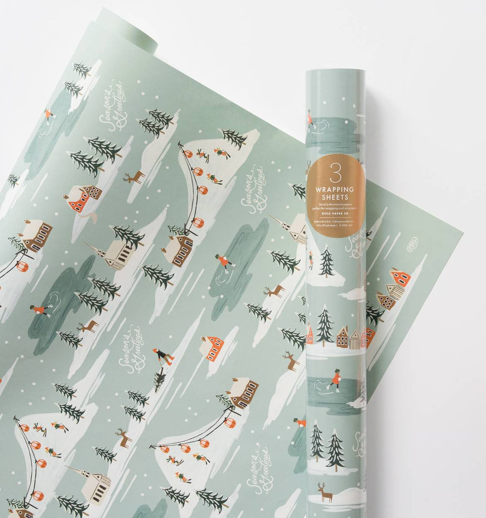 Holiday Snow Scene Gift Wrap - Planning Pretty
