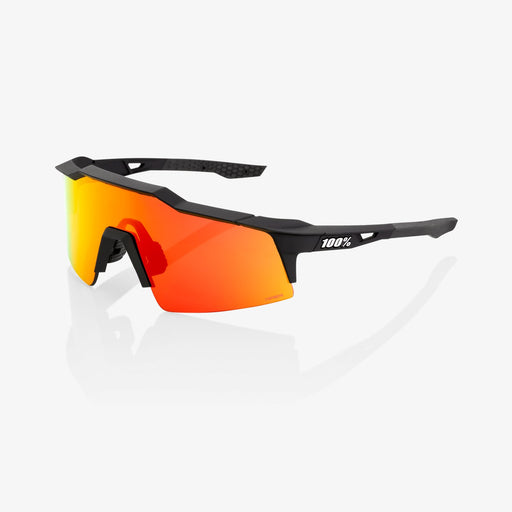 100% Speedcraft SL Soft Tact Black Cycling Sunglasses - Red Multilayer Mirror Lens