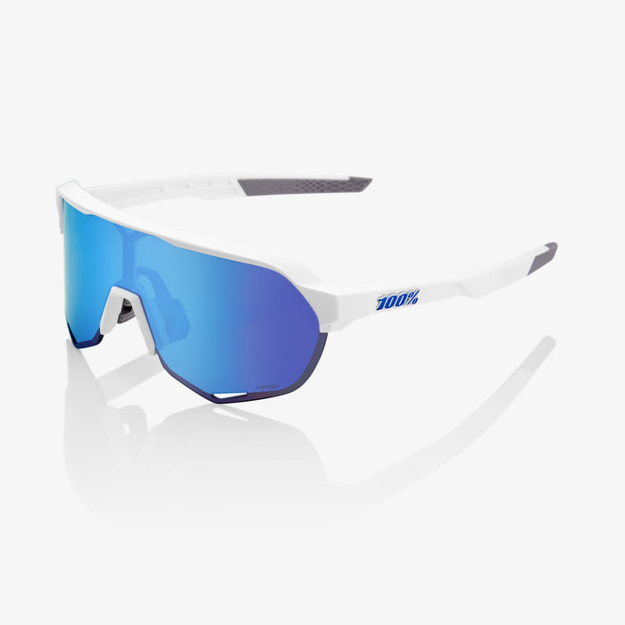 100% S2 Matte White Cycling Sunglasses - Blue Multilayer Mirror Lens + Clear Lens