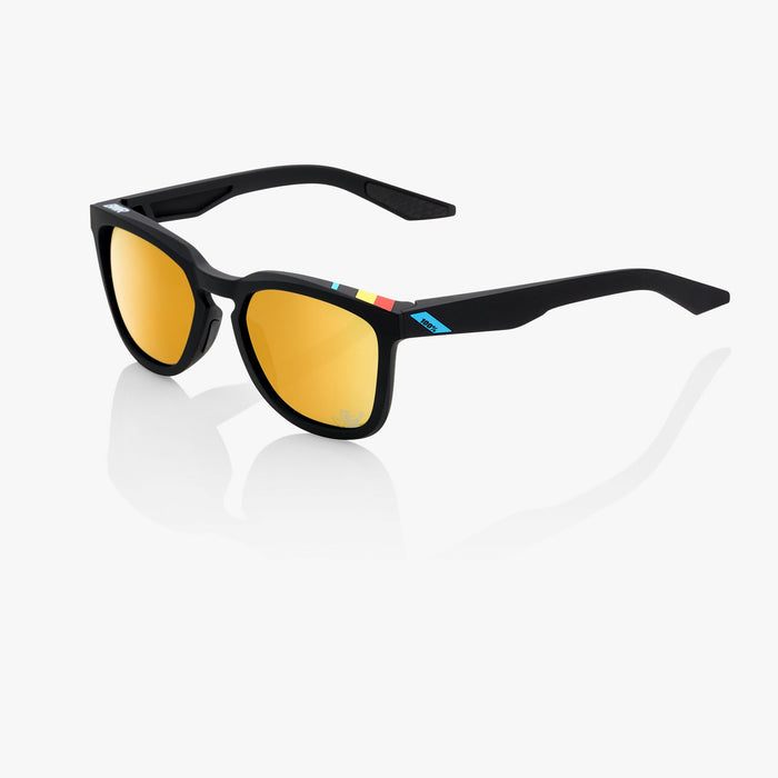 100% Hudson BWR Black Cycling Sunglasses Belgian Waffle Limited Edition - Soft Gold Mirror