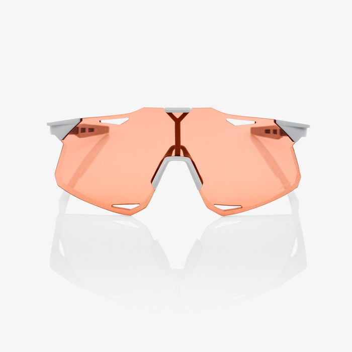 100% Hypercraft Matte Stone Grey Cycling Sunglasses - Coral Lens + Clear Lens
