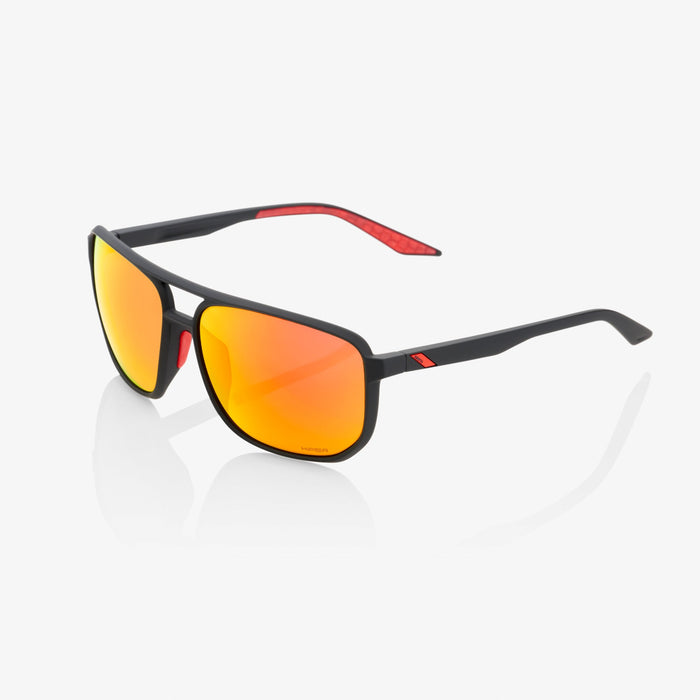 100% Konnor Soft Tact Black Cycling Sunglasses - Red Multilayer Mirror Lens