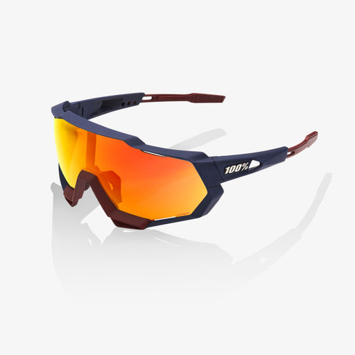 Ride 100% Speedtrap Sunglasses - Soft Tack Flume - Hiper Red Multilayer Mirror Lens