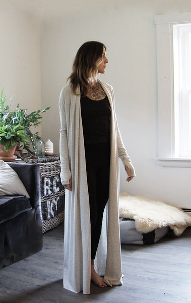 long tencel french terry robe in birch SOLD OUT