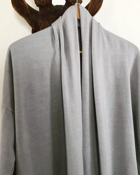 long tencel fleece robe in cloudy grey