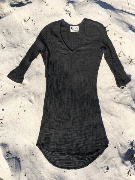 1/2 sleeve charcoal organic double gauze cotton dress