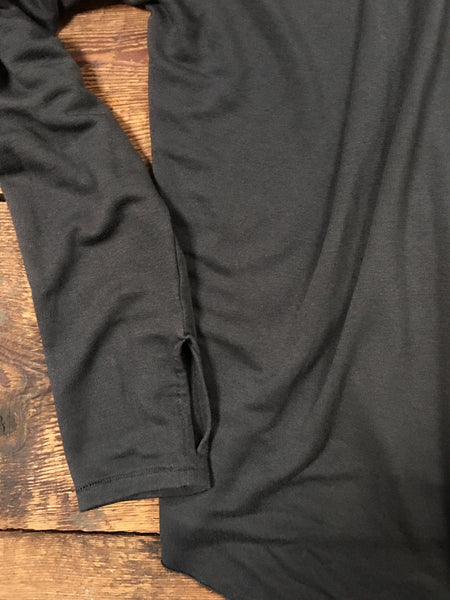 tencel wrap with thumb holes charcoal