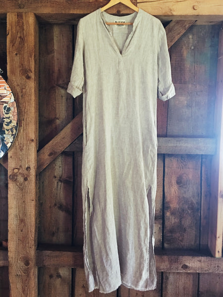 linen market dress in sand