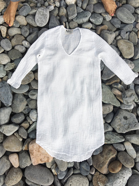 1/2 sleeve white organic double gauze cotton dress