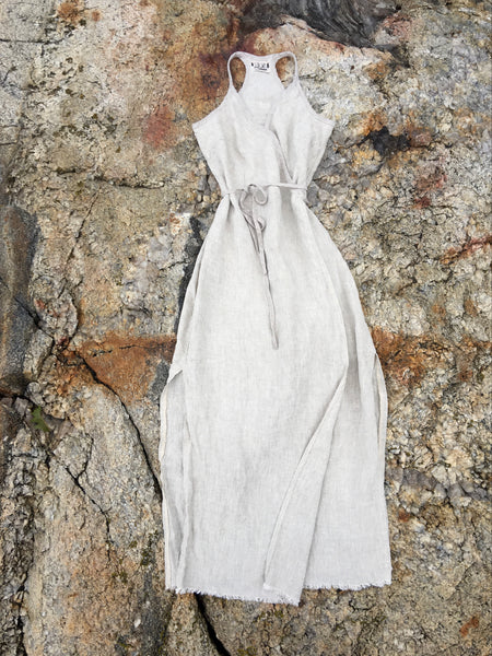 linen wrap dress in sand