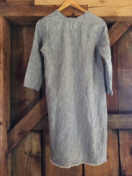 faded blue linen chambray shirt dress