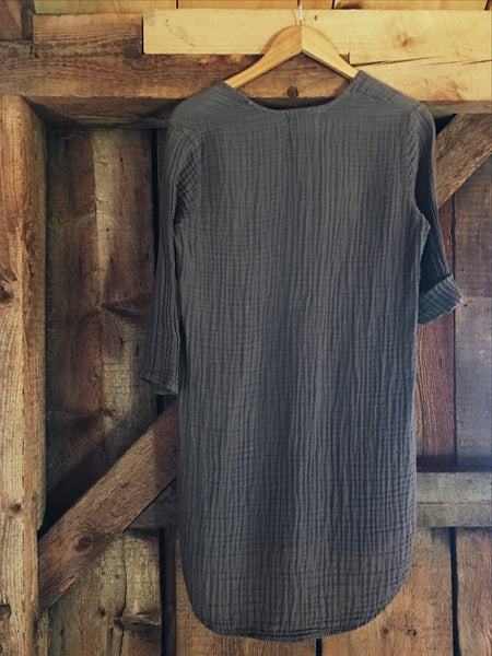 3/4 sleeve organic double gauze cotton dress in urchin