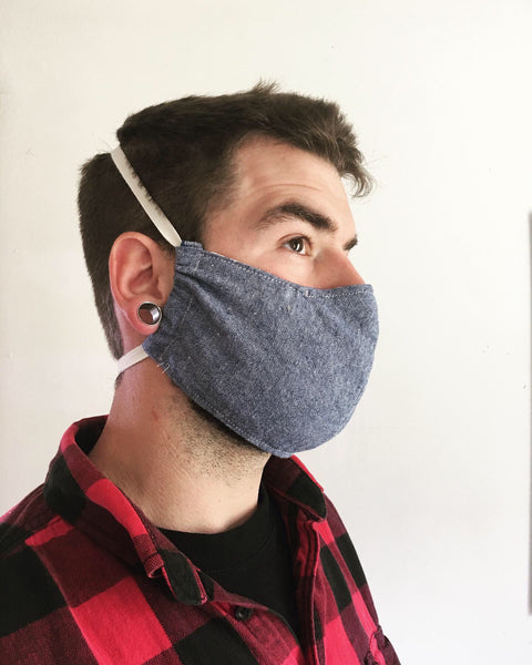 cotton / linen chambray face mask