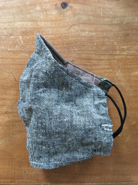 cotton / linen grey chambray face mask