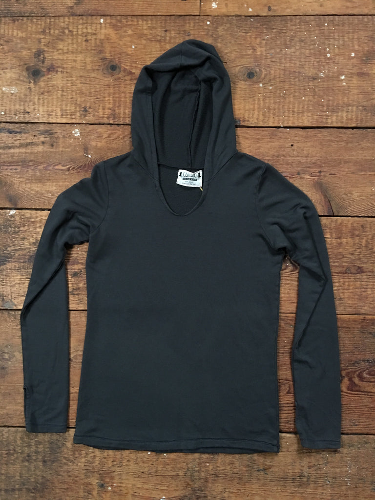 tencel hoody with thumb holes charcoal