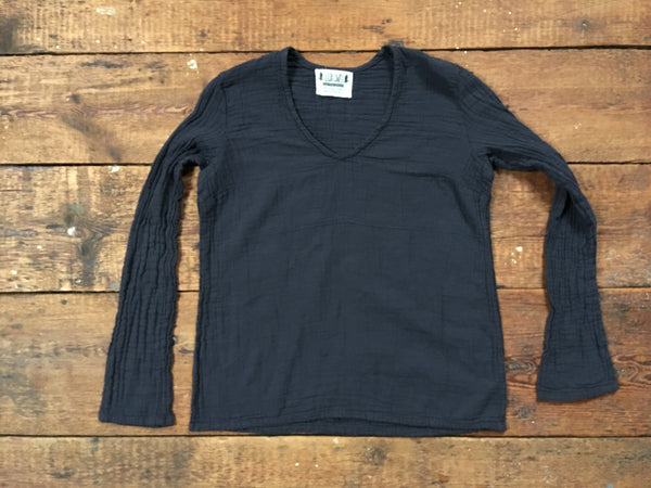 organic double gauze cotton pullover in midnight