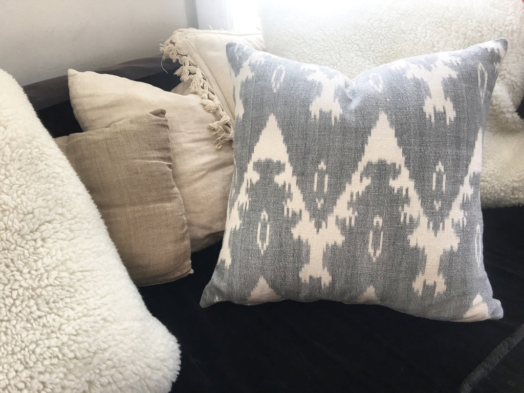 handloomed ira ikat pillow grey and white