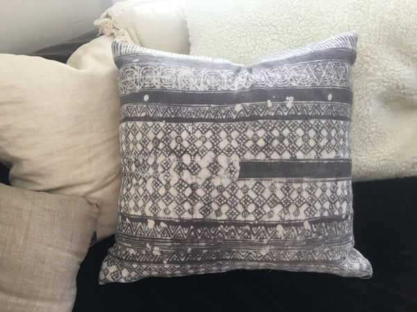 handloomed hmong batik pillow grey and white