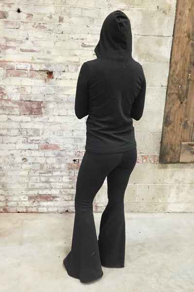 charcoal tencel bell bottom yoga pants
