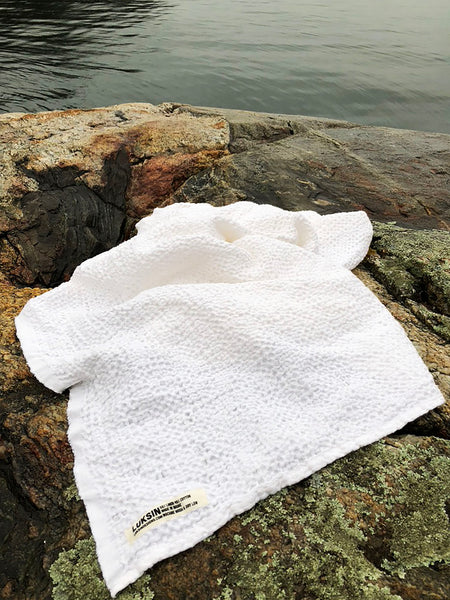 linen/cotton waffle oversized spa towel in salt