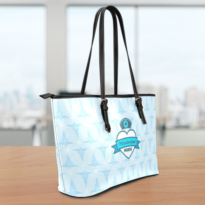 MS Nurse Blue Small Leather Tote Bag