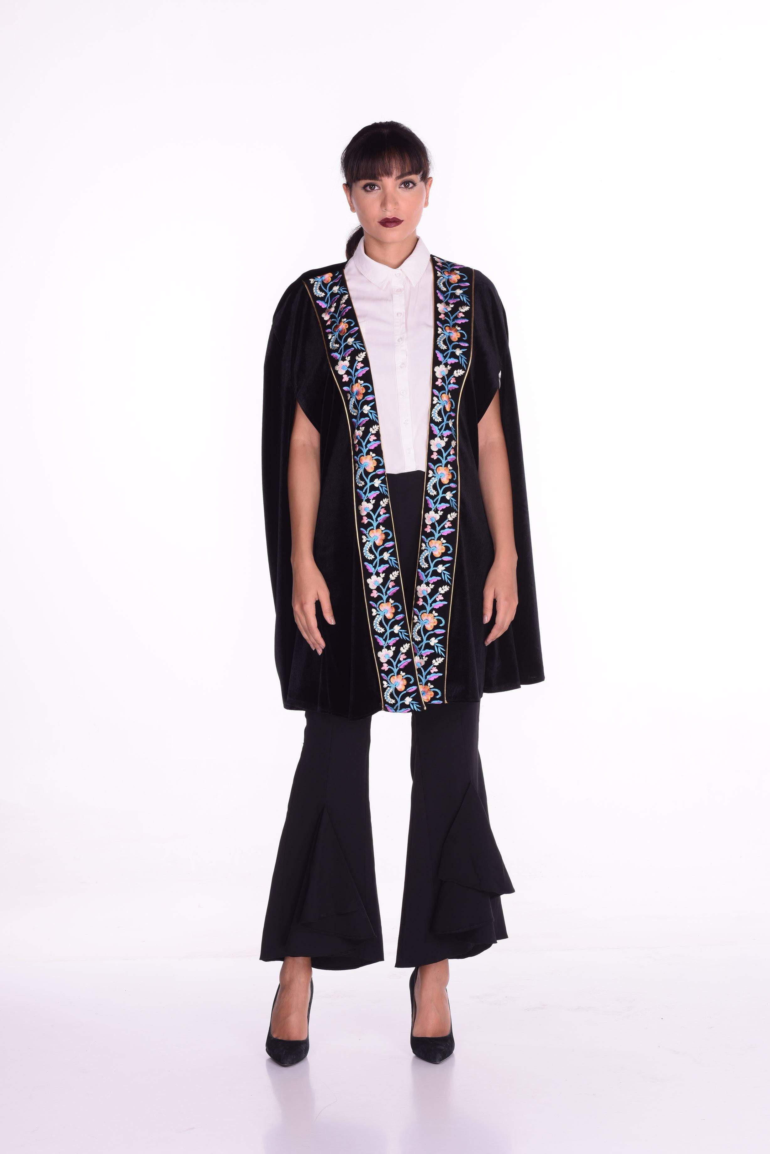 Fayrouz Embroidered Cape with Blue Embroidery