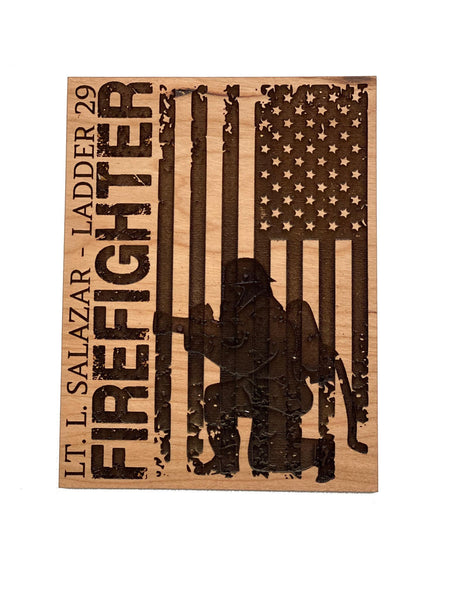 Personalized Wooden Firefighter Sign Card