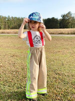 firefighter, pants, suspenders, reflective tape, custom, handmade, small shop, dress-up, hero, costume, imaginative play, everyday, trending, sturdy, daddy and me, organic, cotton, kids, fashion, thin red line, fireman, family, photos