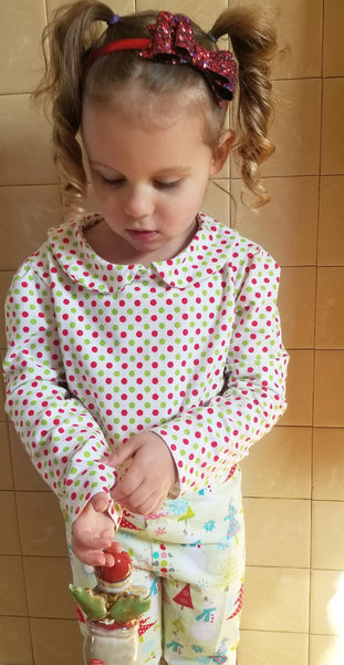 Peter Pan collar, top, shirt, classic, Christmas, polka dots, toddler, girls, handmade, fashion