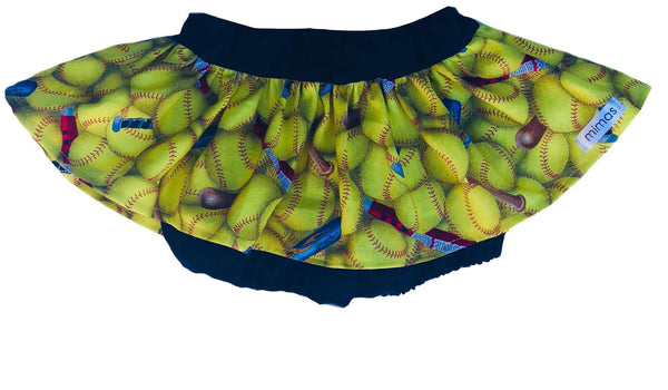 skirted bloomers, softball, fan, sports, handmade