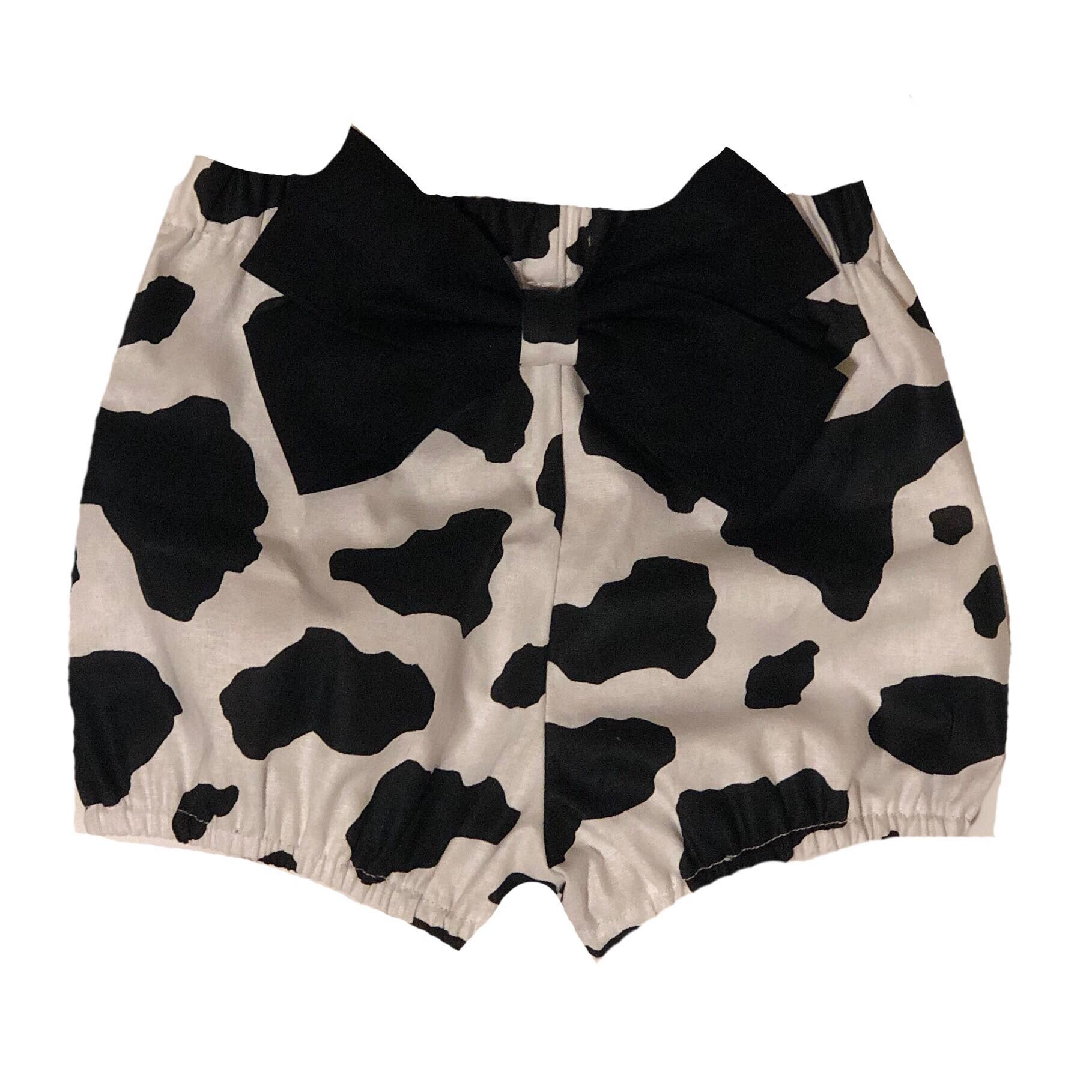 cow print, farm, animal, bloomers, bow, shorties, bummies handmade, small shop, trendy, fashion