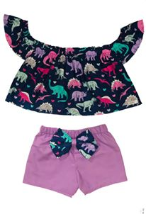 Dino Off the Shoulder Top and Bow Bottoms