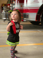 firefighter, fireman, suspender shorts, community helper, costume, dress up, fashion, ootd, bow