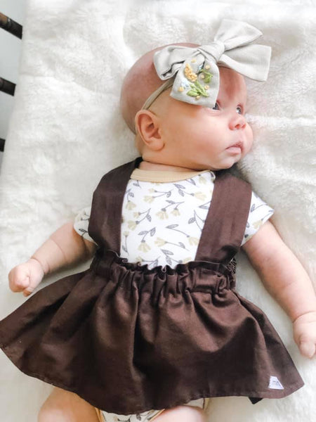 suspender skirt, fall, solid, brown, skirt, handmade, small shop, simple, trendy, toddler, girls, ootd, family, photography