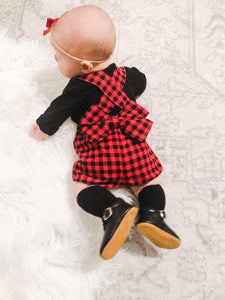 buffalo plaid, suspender shorts, bow, Christmas, family, photography, handmade, small shop, baby, girls, toddler
