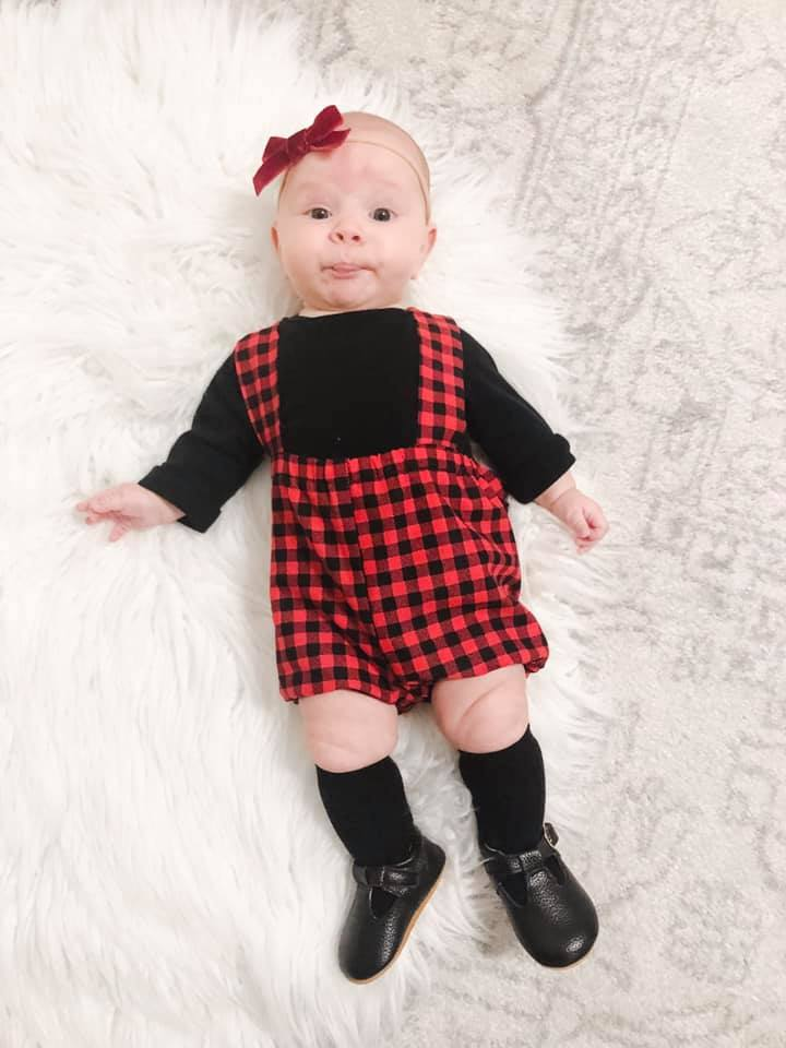 Buffalo Plaid Suspender Shorts with Back Bow