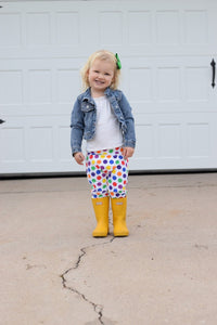 leggings, rainbow, polka dot, pants, girls, toddler, handmade, small shop, fashion, warm, winter, style