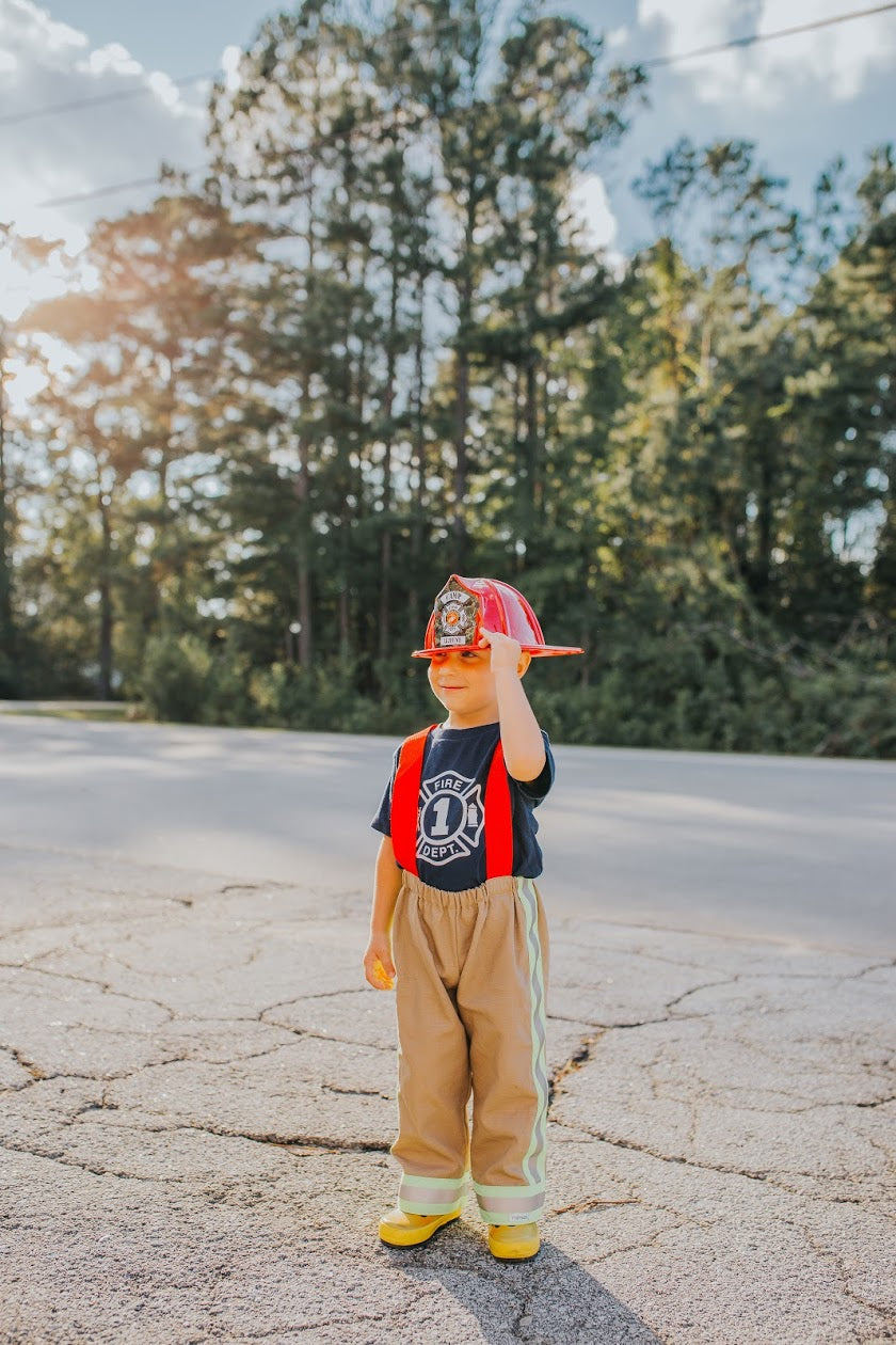 firefighter, fireman, suspender pants, costume, dress up, fire, hero, handmade, small shop, boys, toddler